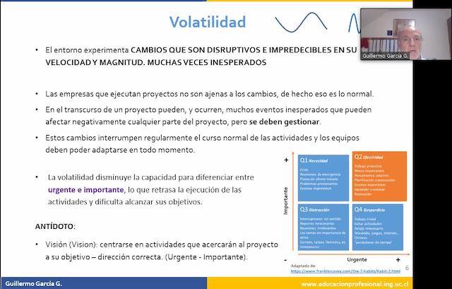 Webinar UC: «La administración de proyectos TI en ambientes VUCA -Volatilidad, (U) Incertidumbre, Complejidad y Ambigüedad-«